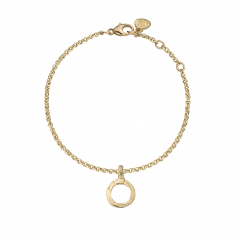 Gold Mini Open Circle Chain Bracelet