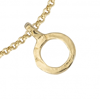 Gold Mini Open Circle Chain Bracelet detailed