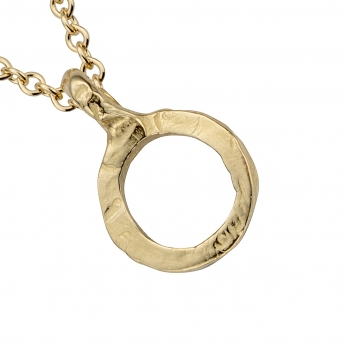 Gold Mini Open Circle Necklace detailed