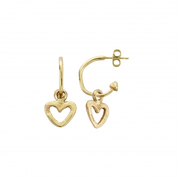 Gold Mini Cupid Hoops With Mini Open Heart Charms detailed