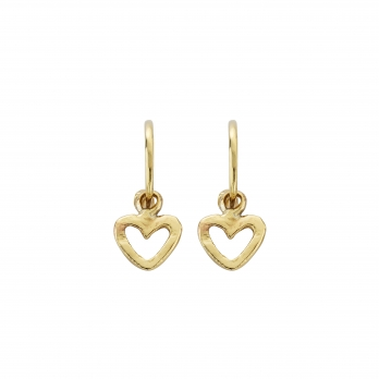 Gold Mini Cupid Hoops With Mini Open Heart Charms