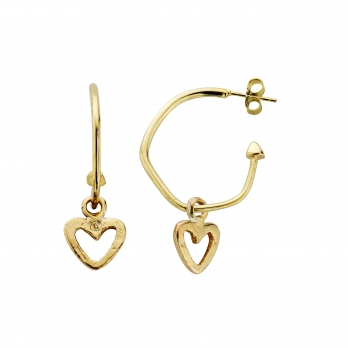 Gold Maxi Cupid Hoops with Mini Open Heart Charms detailed