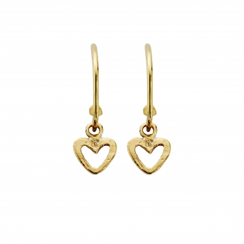 Gold Maxi Cupid Hoops with Mini Open Heart Charms