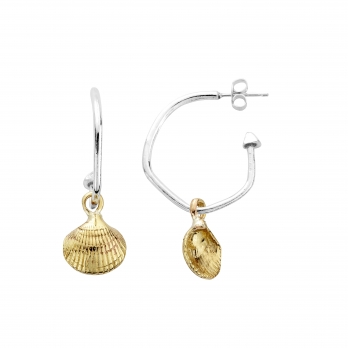 Maxi Cupid Hoops with Gold Mini Shell Charms detailed