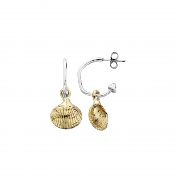 Mini Cupid Hoops with Gold Mini Shell Charms detailed