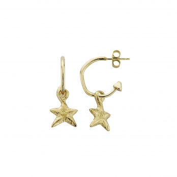 Gold Mini Cupid Hoops With Mini Star Charms detailed