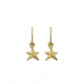 Gold Mini Cupid Hoops With Mini Star Charms