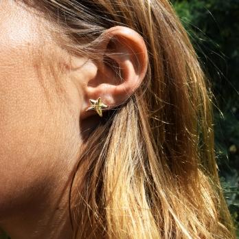 Gold Mini Star Stud Earrings detailed