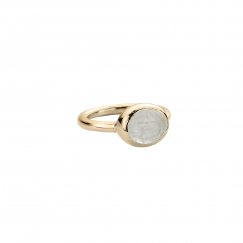 Gold Moonstone Baby Treasure Ring