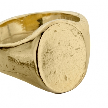 Gold Oval Signet Ring detailed