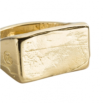 Gold Rectangle Signet Ring detailed