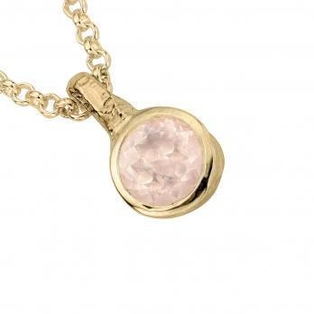 Gold Rose Quartz Baby Treasure Necklace detailed