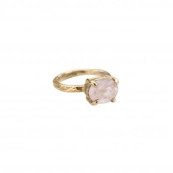 Gold Rose Quartz Claw Ring