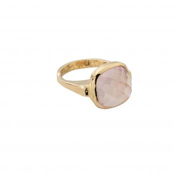 Gold Rose Quartz Crystal Ring