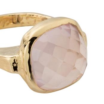 Gold Rose Quartz Crystal Ring detailed