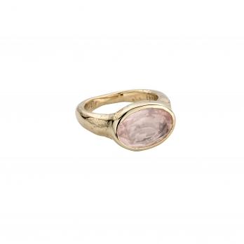 Gold Rose Quartz Treasure Ring