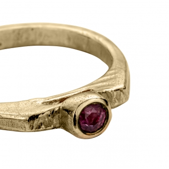 Gold Ruby Promise Ring detailed
