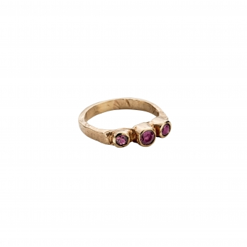 Gold Ruby Trinity Ring