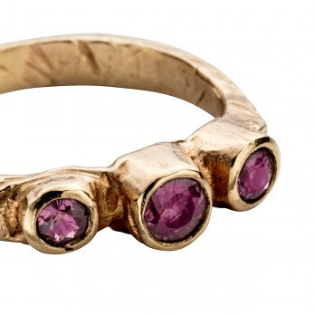 Gold Trinity Ruby Ring detailed