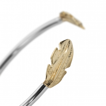 Silver & Gold Feather Cuff Bangle detailed
