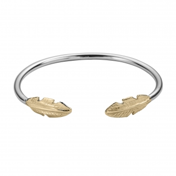 Silver & Gold Feather Cuff Bangle