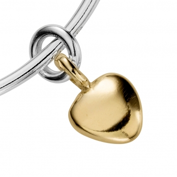Silver & Gold Maxi Grateful Heart Bangle detailed