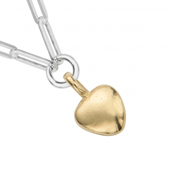 Silver & Gold Grateful Heart Trace Chain Necklace detailed