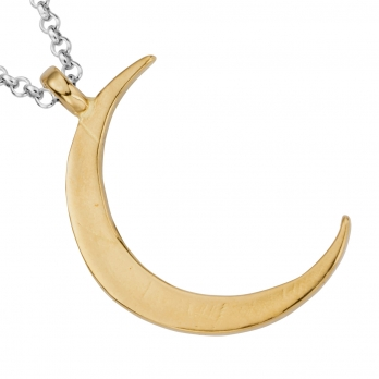 Silver & Gold Large Crescent Moon Necklace detailed