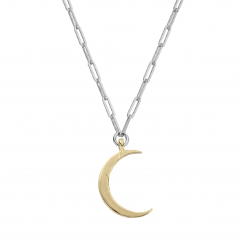 Silver & Gold Large Crescent Moon Trace Chain Necklace
