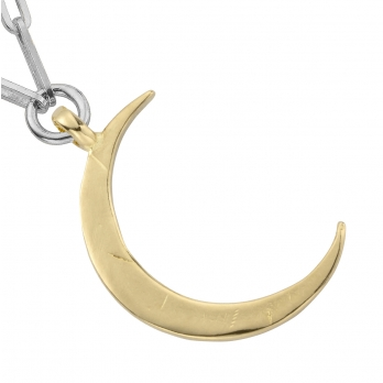 Silver & Gold Large Crescent Moon Trace Chain Necklace detailed