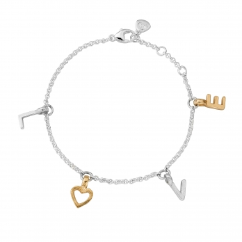 Silver & Gold Fixed Alphabet Chain Bracelet