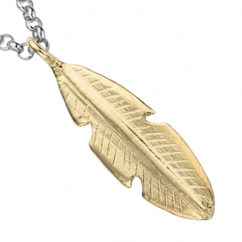 Silver & Gold Maxi Feather Necklace detailed