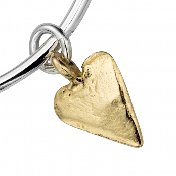 Silver & Gold Maxi Heart Bangle detailed