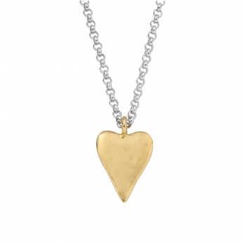 Silver & Gold Maxi Heart Necklace