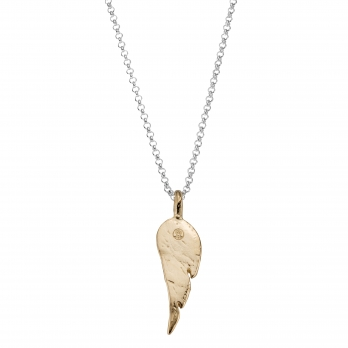 Silver & Gold Midi Angel Wing Necklace