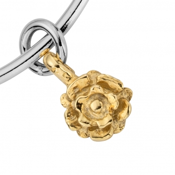 Silver & Gold Medium Yorkshire Rose Bangle detailed