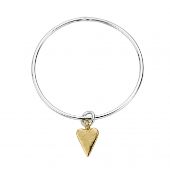 Silver & Gold Medium Heart Bangle