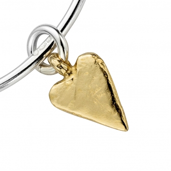 Silver & Gold Medium Heart Bangle detailed