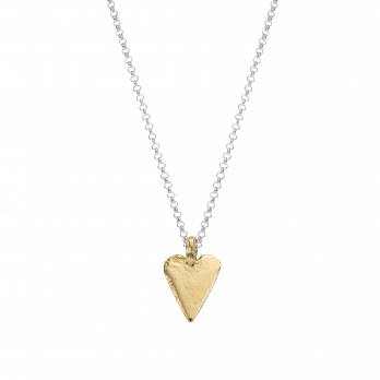 Silver & Gold Midi Heart Necklace