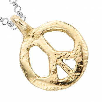 Silver & Gold Medium Peace Necklace detailed