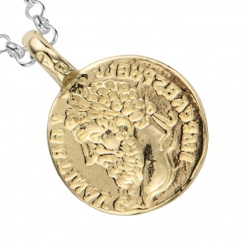 Silver & Gold Medium Roman Coin Necklace detailed