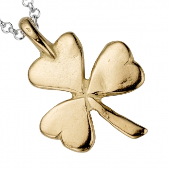 Silver & Gold Large Shamrock Necklace detailed