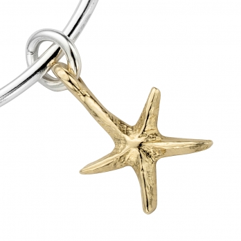 Silver & Gold Medium Starfish Bangle detailed