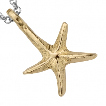 Silver & Gold Medium Starfish Necklace detailed