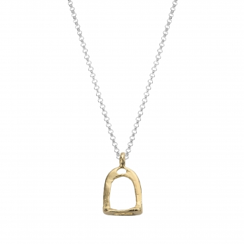 Silver & Gold Medium Stirrup Necklace
