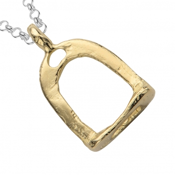 Silver & Gold Medium Stirrup Necklace detailed