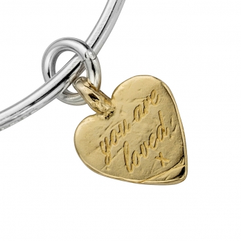 Silver & Gold Medium You Are Loved Bangle detailed