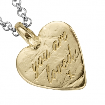 Silver & Gold Medium You Are Loved Necklace detailed