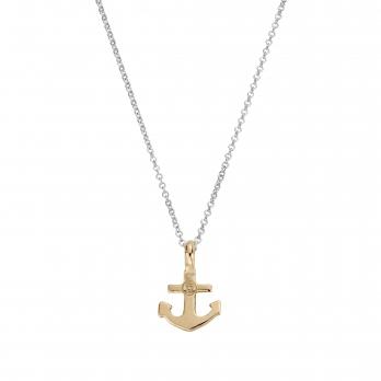 Silver & Gold Mini Anchor Necklace