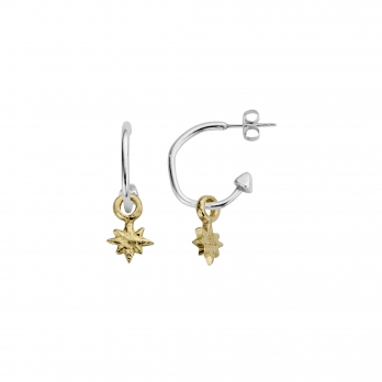 Mini Cupid Hoops With Gold Baby North Star Charms detailed